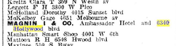 I Magnin listing 1925 LA City Directory