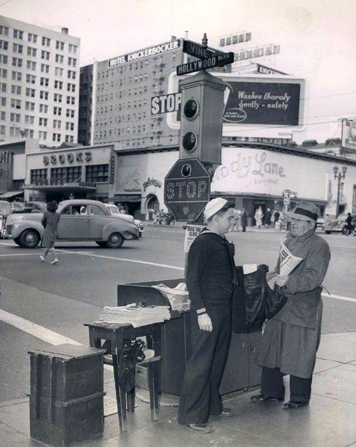 Newsstand at the corner of Hollywood and Vine, circa 1940s