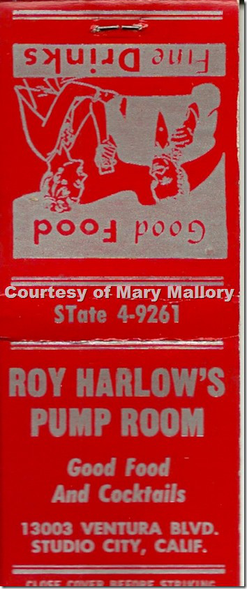 Roy Harlow's Pump Room, 13003 Venture Blvd, Studio City matchbook