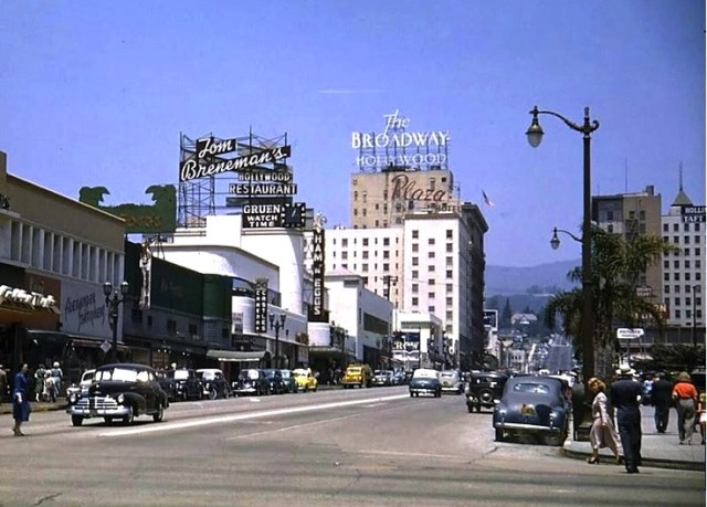 Vine Street, Hollywood in color, 1948
