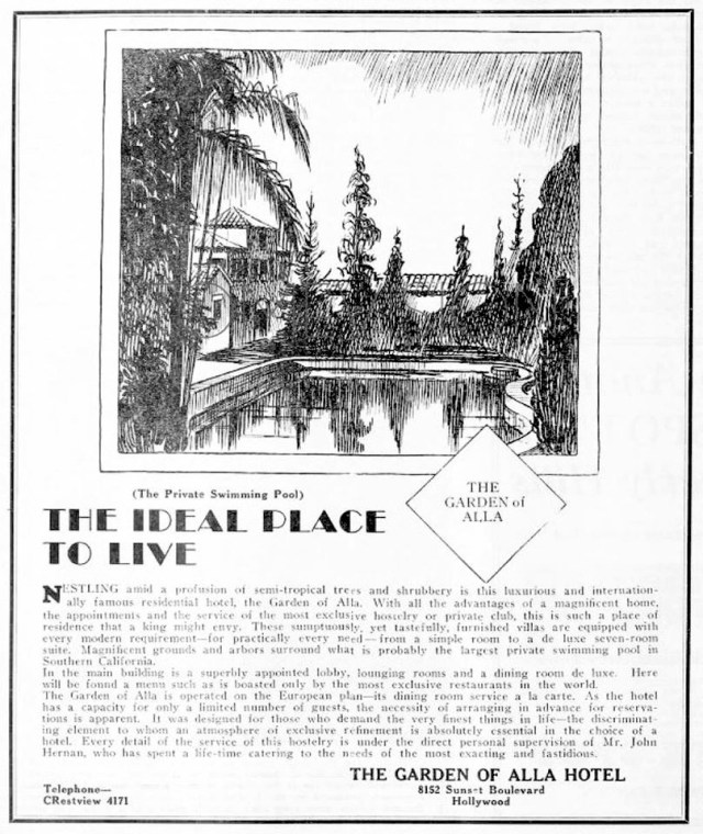 "Early ad for the Garden of Alla Hotel (no ""h)"