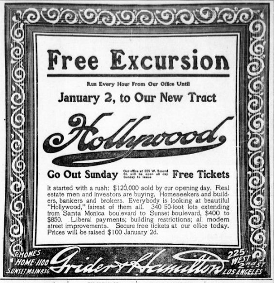 Advertisement for Hollywood, land sales, 1908