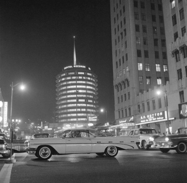 Cruising Hollywood Blvd at Vine Street, circa late 1950s.