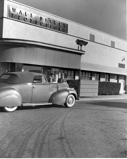 Entrance to Walt Disney Studios with a circa 1941 Packard