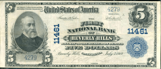 First National Bank of Beverly Hills five dollar bill