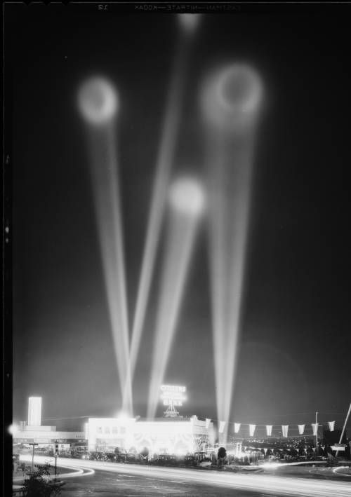 Searchlights at Leimert Park for bank opening, Los Angeles, CA, 1930