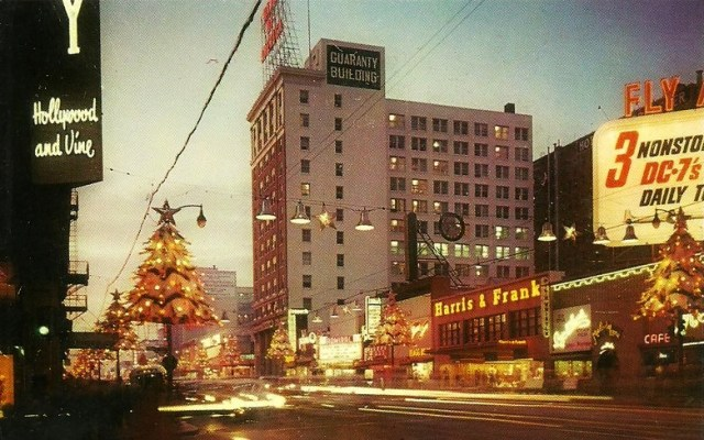 Corner of Hollywood and Vine, Christmas, circa 1950s