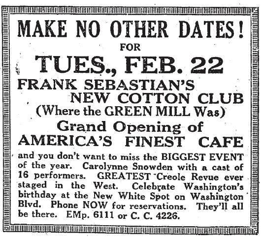 Frank Sebastian's New Cotton Club advertisement 1927