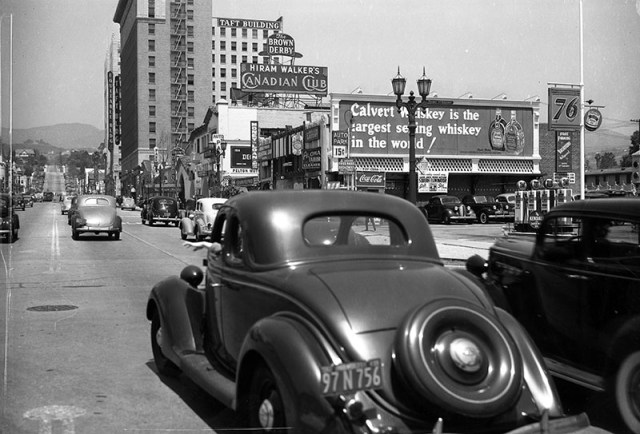Driving north on Vine St, Hollywood, 1939