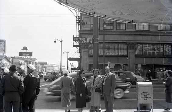 Northwest corner of Hollywood and Vine, circa WWII