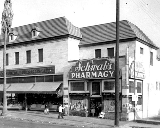 Schwab's Pharmacy and Crescent Heights Market, Sunset Blvd, Los Angeles
