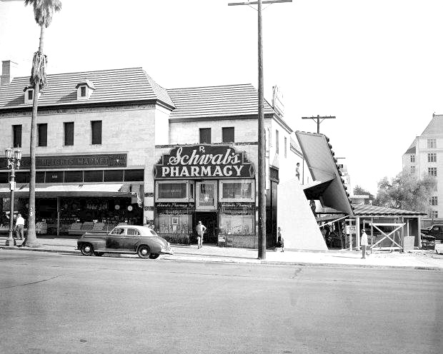 Schwab's Pharmacy and its new neighbor Googie's Coffee Shop still under construction, August 11,1949