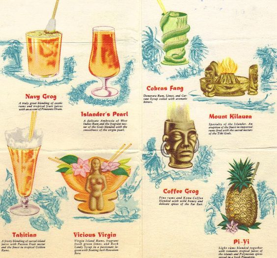 Cocktail menu from a Polynesian bar
