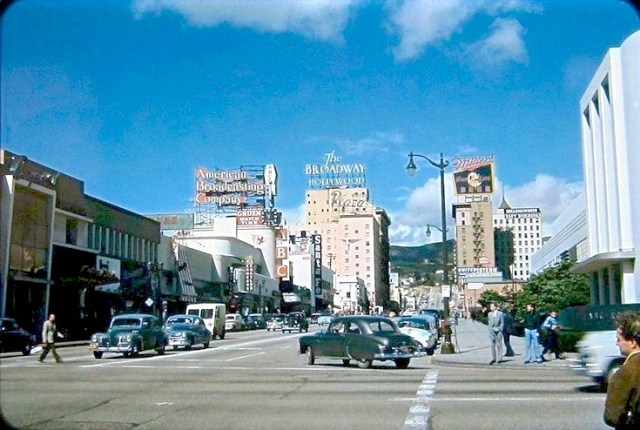 Looking north up Vine Street from Sunset Blvd, Hollywood, 1940s (Kodachrome)