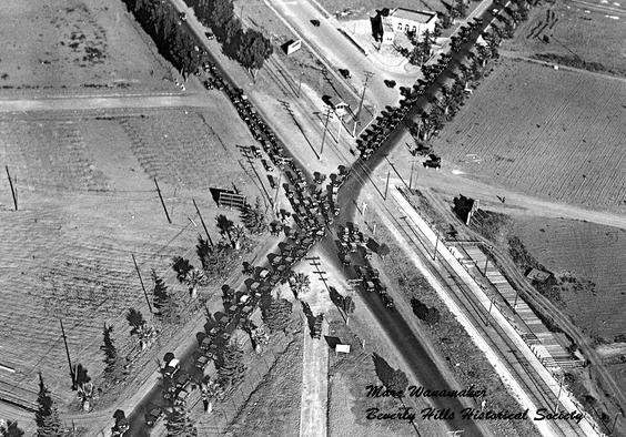 Intersection of Wilshire and Santa Monica Boulevards show traffic demonstration, 1924