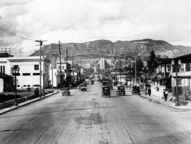 View looking north up Vine Street toward the Hollywoodland sign, shortly after it was installed in the Hollywood hills, 1923.jpg