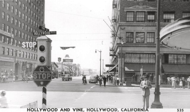 Corner of Hollywood and Vine, looking south, circa early 1950s