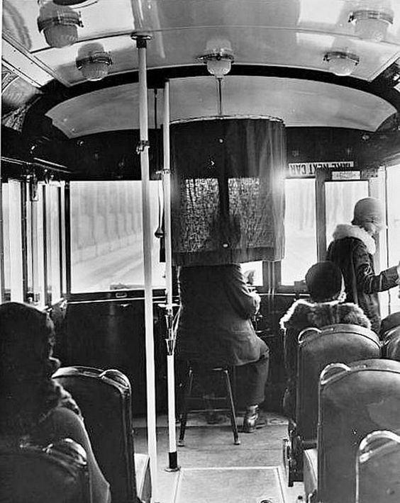 Inside the Los Angeles Railway yellow streetcar, circa 1929