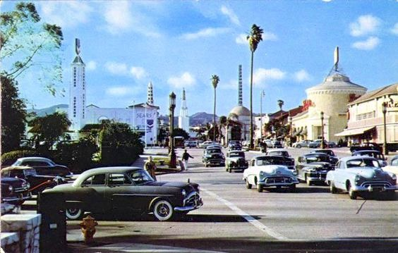 Looking northward across Wilshire Blvd into Westwood Village, circa 1956