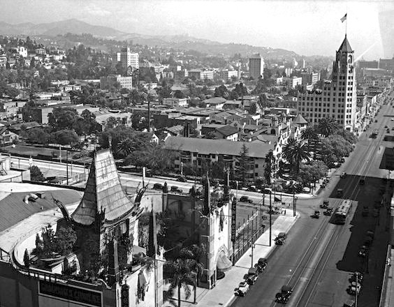View over Hollywood Boulevard and Grauman's Chinese Theatre, Hollywood, circa 1930