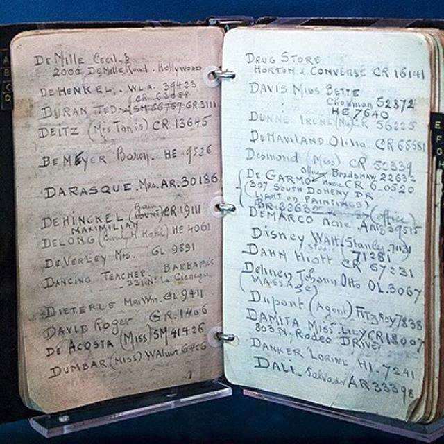 Warner Bros. studio head Jack Warner's address book