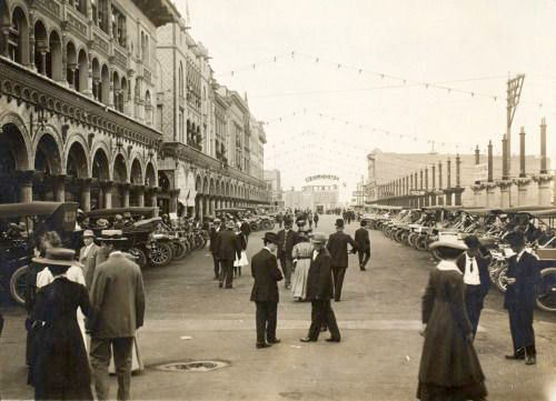 Well-dressed Angelenos promenading down Windward Ave, Venice, California, circa 1905