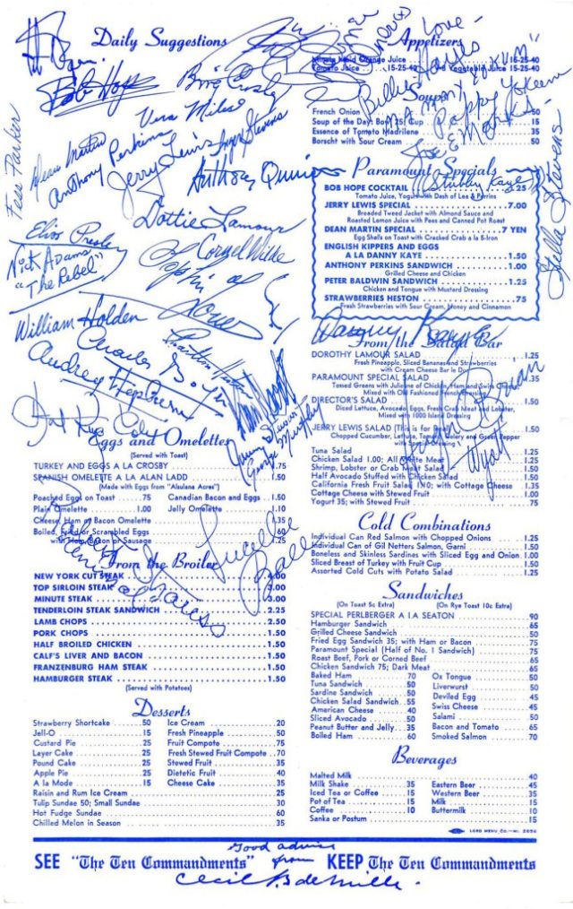 "Autographed Paramount Studios commissary menu during the making of ""The Ten Commandments"" (1956)"
