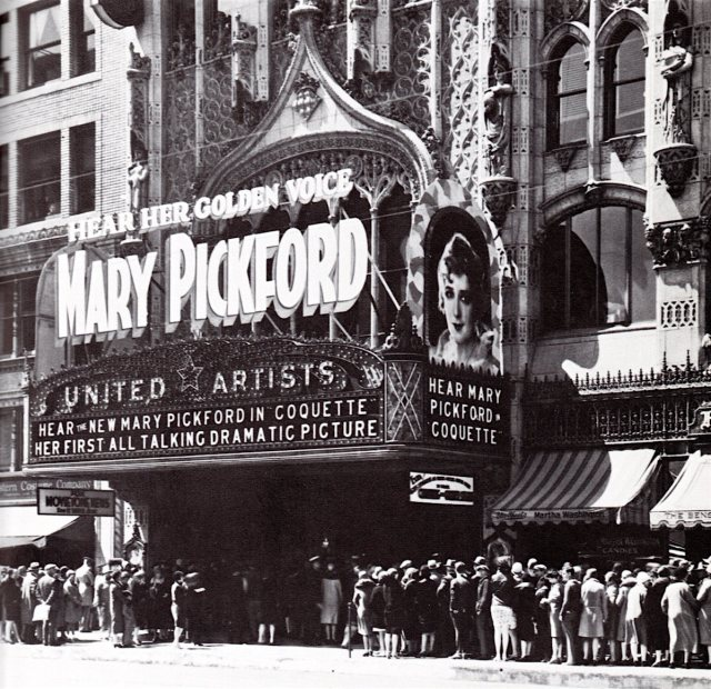 "Mary Pickford in ""Coquette"" (1929) at the United Artists Theater in downtown Los Angeles"