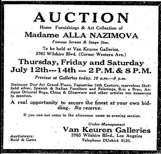 Advertisement for the auction of Alla Nazimova's effect, July 1928