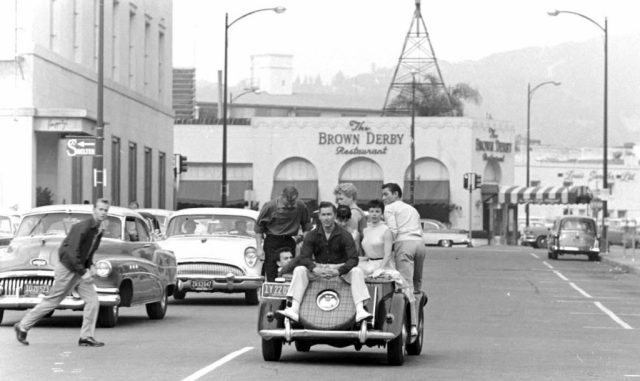 Driving north on South Rodeo Dr, heading toward the Brown Derby, Beverly Hills, circa mid-1950s