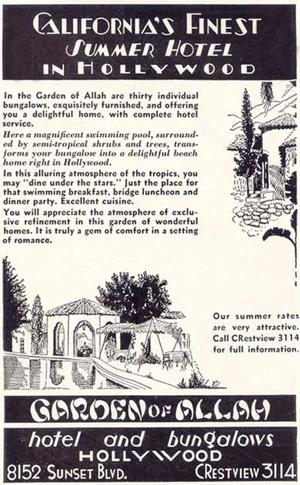 Garden of Allah Hotel print ad