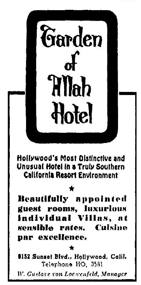 Garden of Allah Hotel ad 1-20-1949
