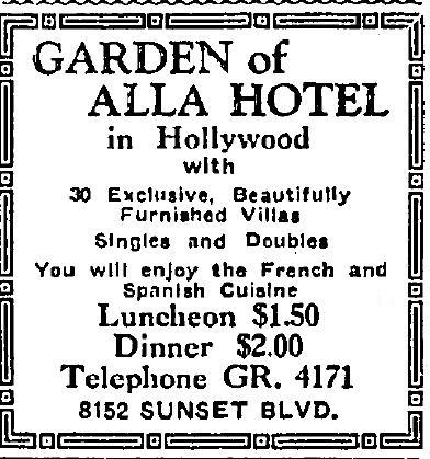 Garden of Allah Hotel ad 10-12-1928