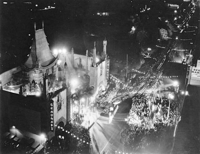 "Grauman's Chinese Theatre the night of the theater's first premiere, Cecil B. DeMille's ""The King of Kings"", May 18, 1927"