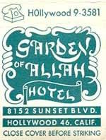 Matchbook cover for the Garden of Allah Hotel