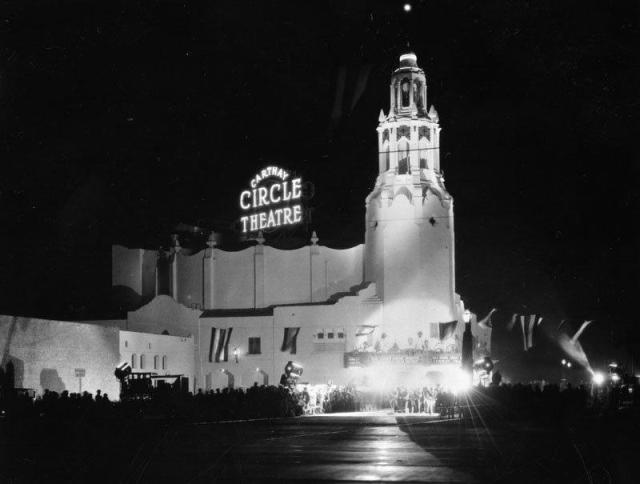 Carthay Circle Theater during a movie premiere, Los Angeles
