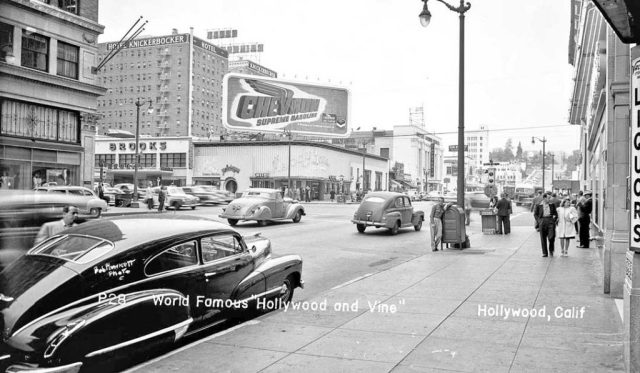 Corner Hollywood and Vine, circa 1947 with 1946-47 Cadillac coupe on the left