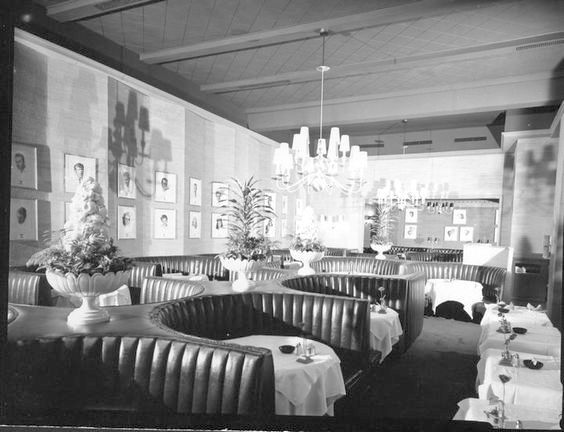 Interior of the Brown Derby restaurant, Beverly Hills.