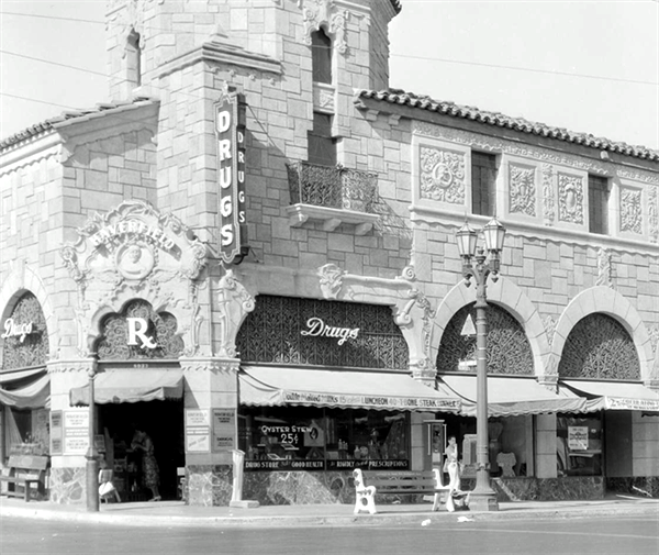 Haverfield Drugs at Sunset and Laurel Canyon Blvds, Los Angeles, 1928