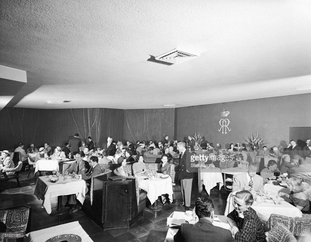 Interior of Romanoff's restaurant, Beverly Hills, 1952
