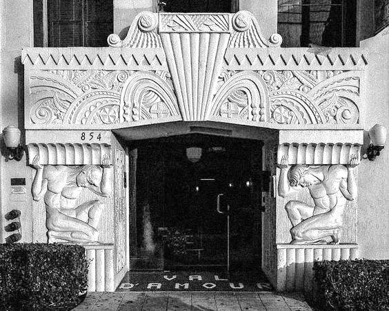 Art Deco entrance to Val d'Amour Apts, 854 S. Oxford Ave, Los Angeles