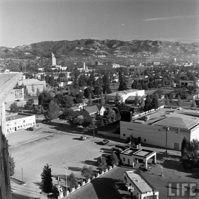 Looking north from the Beverly Wilshire Hotel showing Beverly Hills City Hall in upper-left and the Victor Hugo Restaurant at center-right, circa 1938