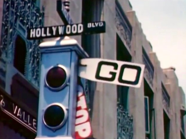 Semaphore traffic light on Hollywood Boulevard, 1946