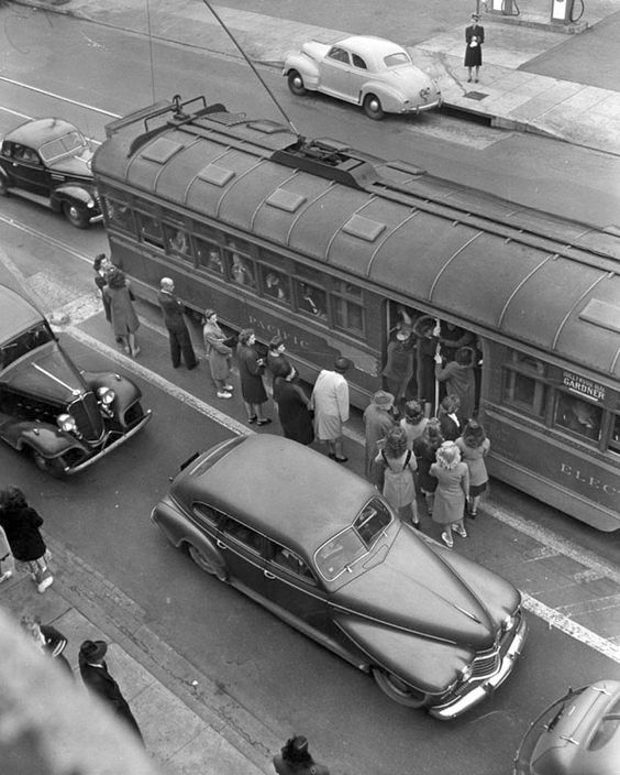 An overcrowded Pacific Electric Red Car on Hollywood Blvd. in 1946