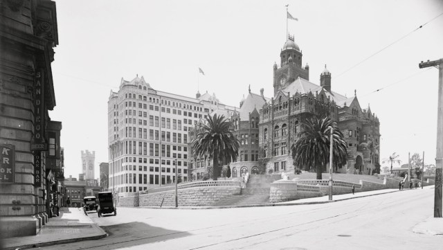 The old Los Angeles County Courthouse with Hall of Records in the background, circa 1910s.jpg