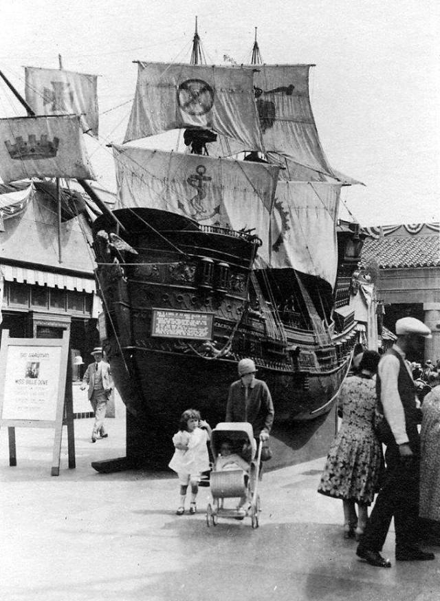 """The Black Pirate"" model ship at the Egyptian Theater"