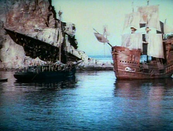 "Color frame from ""The Black Pirate"" showing model ship"