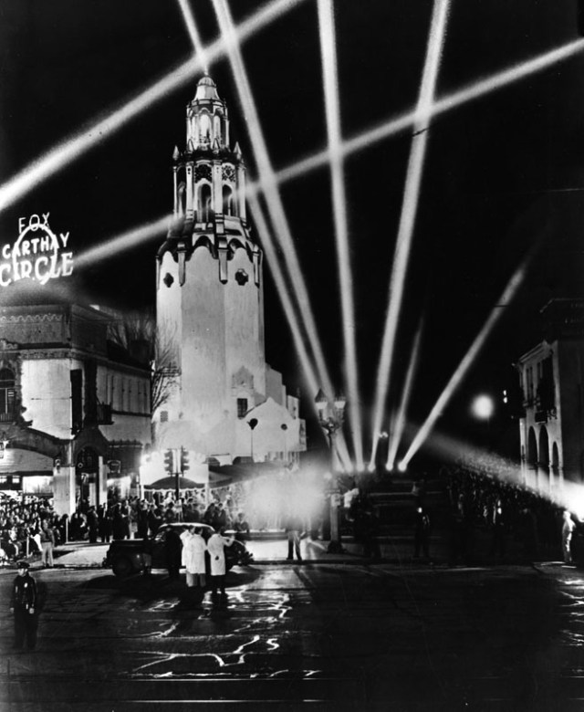 Fox Carthay Circle Theater lit up with searchlights for a movie premiere