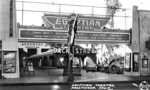 Front entrance of the Egyptian Theatre, Hollywood Boulevard, 1932