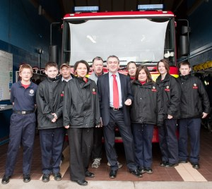 Bidford Young Firefighters, Martin Turner, Cllrs Peter Barnes and Daren Pemberton during the campaign.